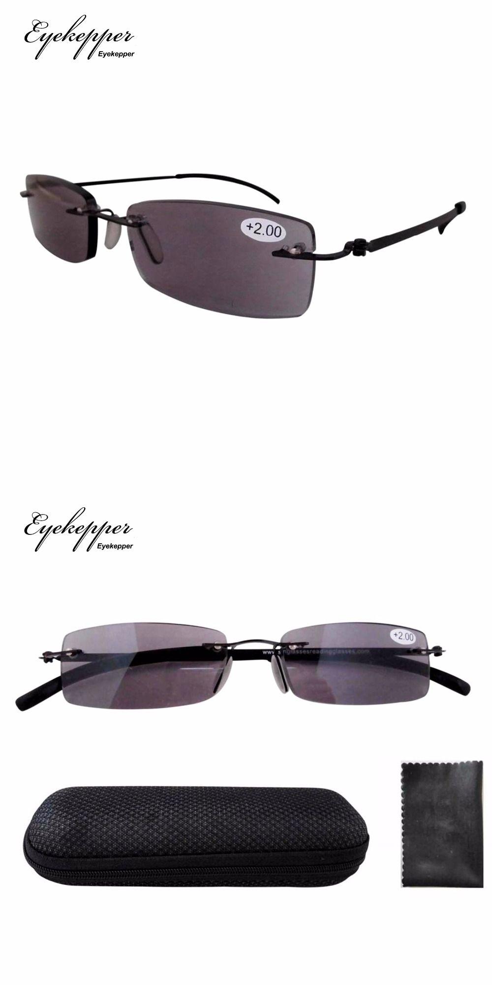 f61c95e3150 R14001CT Lightweight Stainless Steel Frame Rimless Sun Readers Reading  Glasses +1.00 +1.25