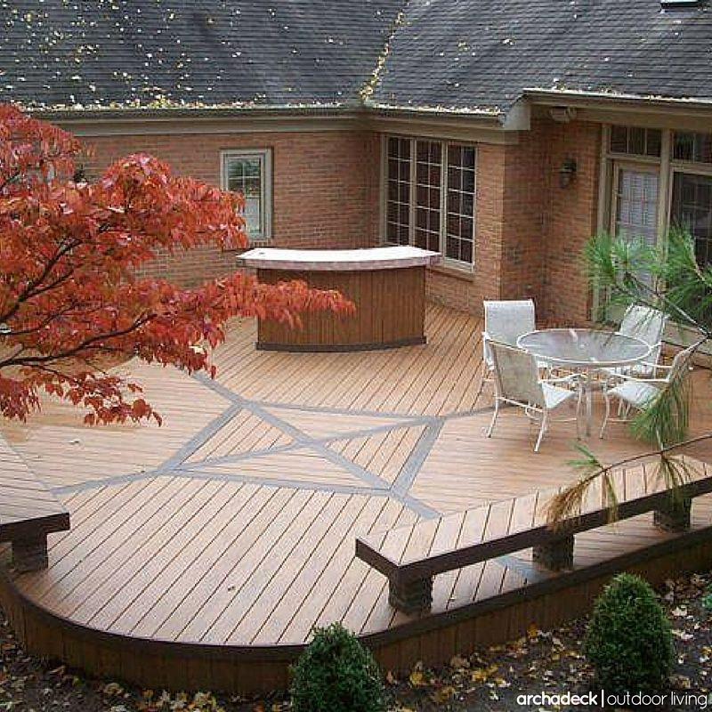 Specific Deck Designs Are Largely Dictated By Your Existing House And The Layout Of Your Yard For Examp Deck Design Composite Deck Pictures Composite Decking
