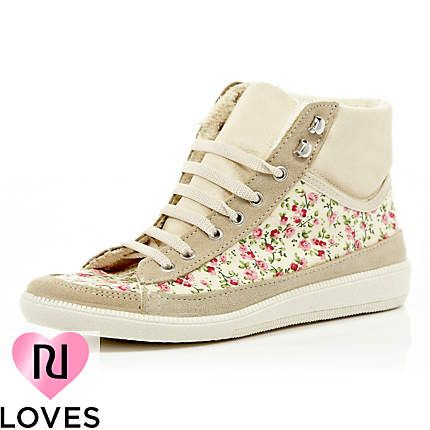 pink floral print high tops -  River Island