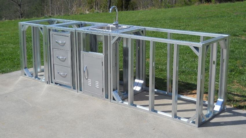 Could I Adf Wheels To Make Mobile Outdoor Kitchen Kit Straight Modular Outdoor Kitchen Plans Prefab Outdoor
