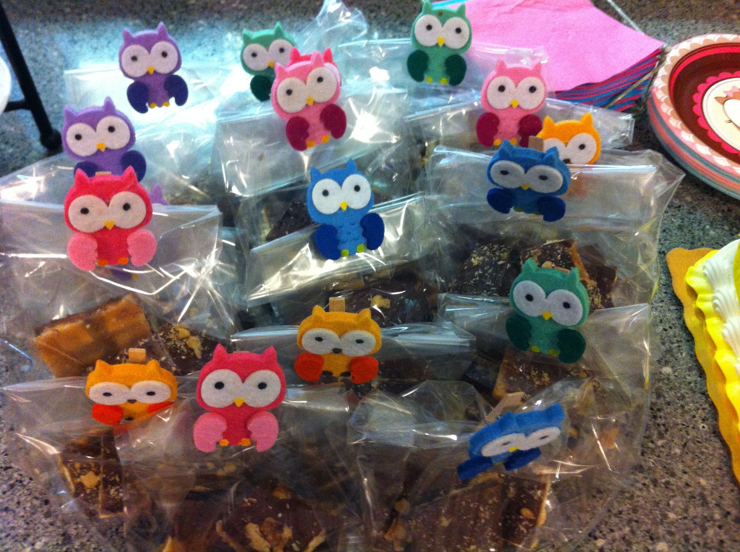 Owl treat bags. 1st birthday party for twins.