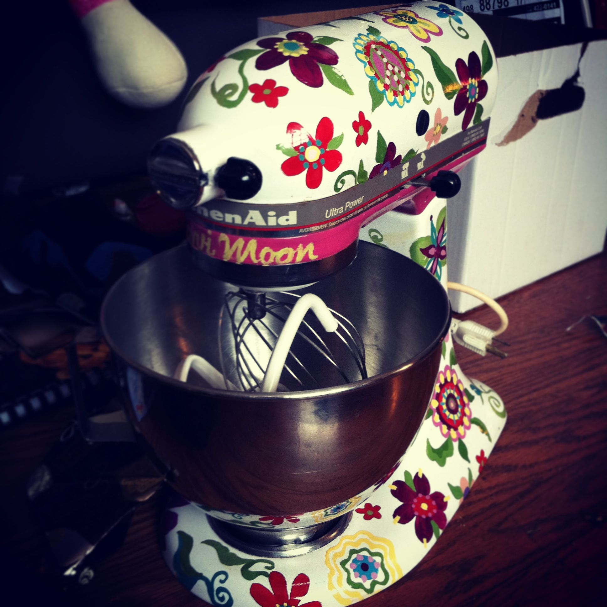 A custom painted kitchen aid mixer, my mom made for my ...