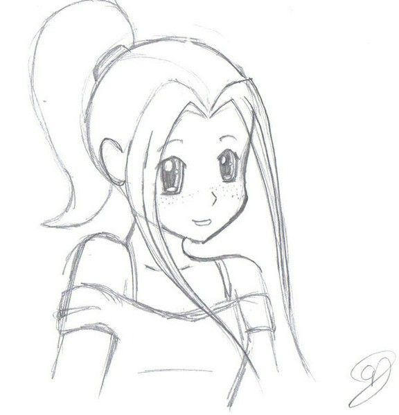 Drawn anime simple 14 · easy sketcheseasy drawingspencil