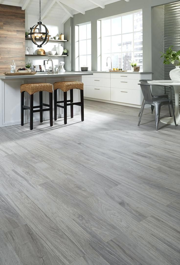 Kitchen With Grey Wood Floors And Brown Wood Floors In 2020