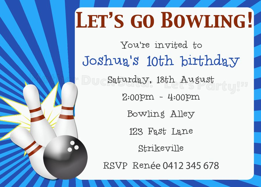 "ten pin bowling party invitation mother duck said: ""lets party, Party invitations"