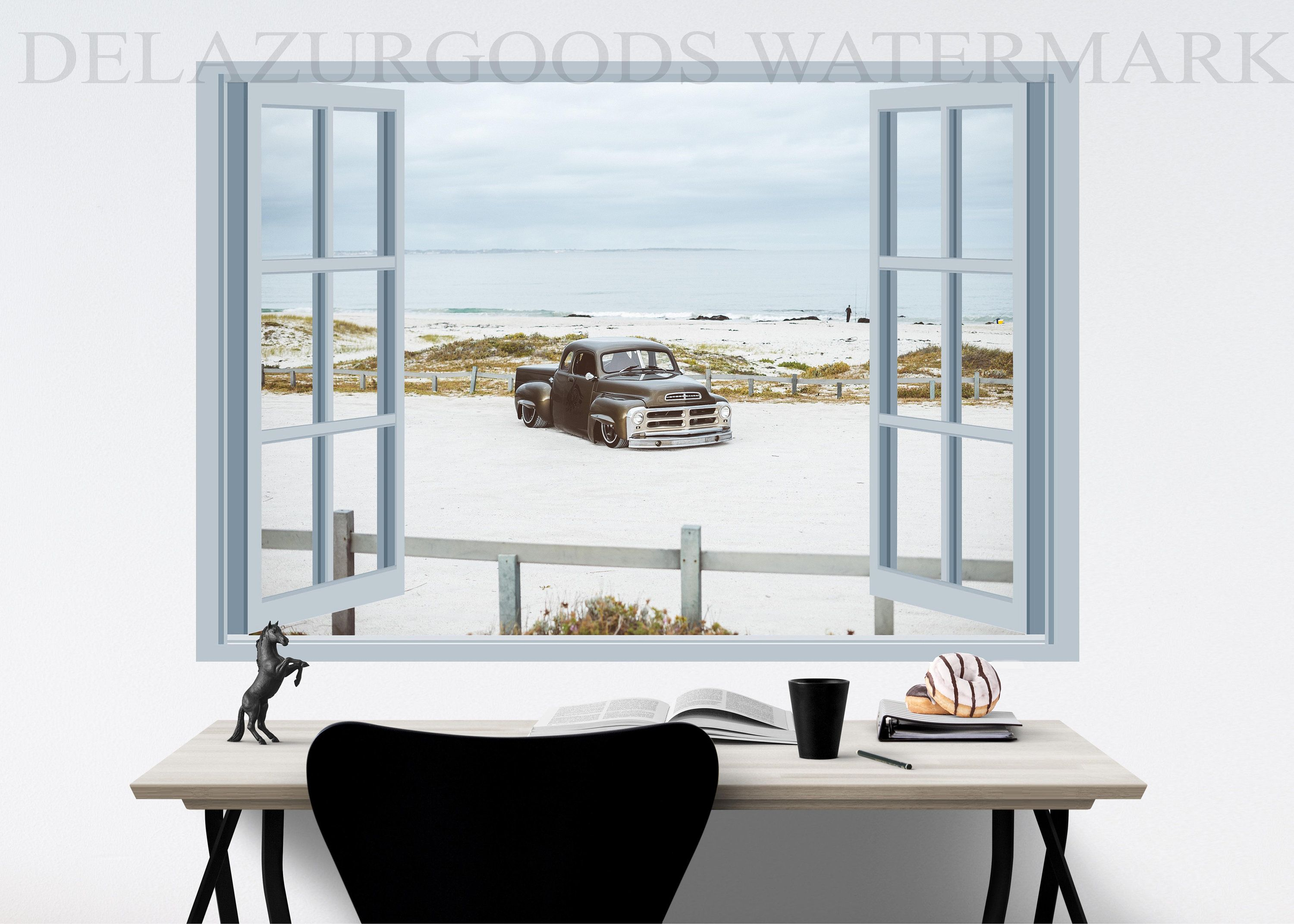 Classic Pickup Window View Wallpaper Peel And Stick Etsy Window View Fresh Contemporary White Windows