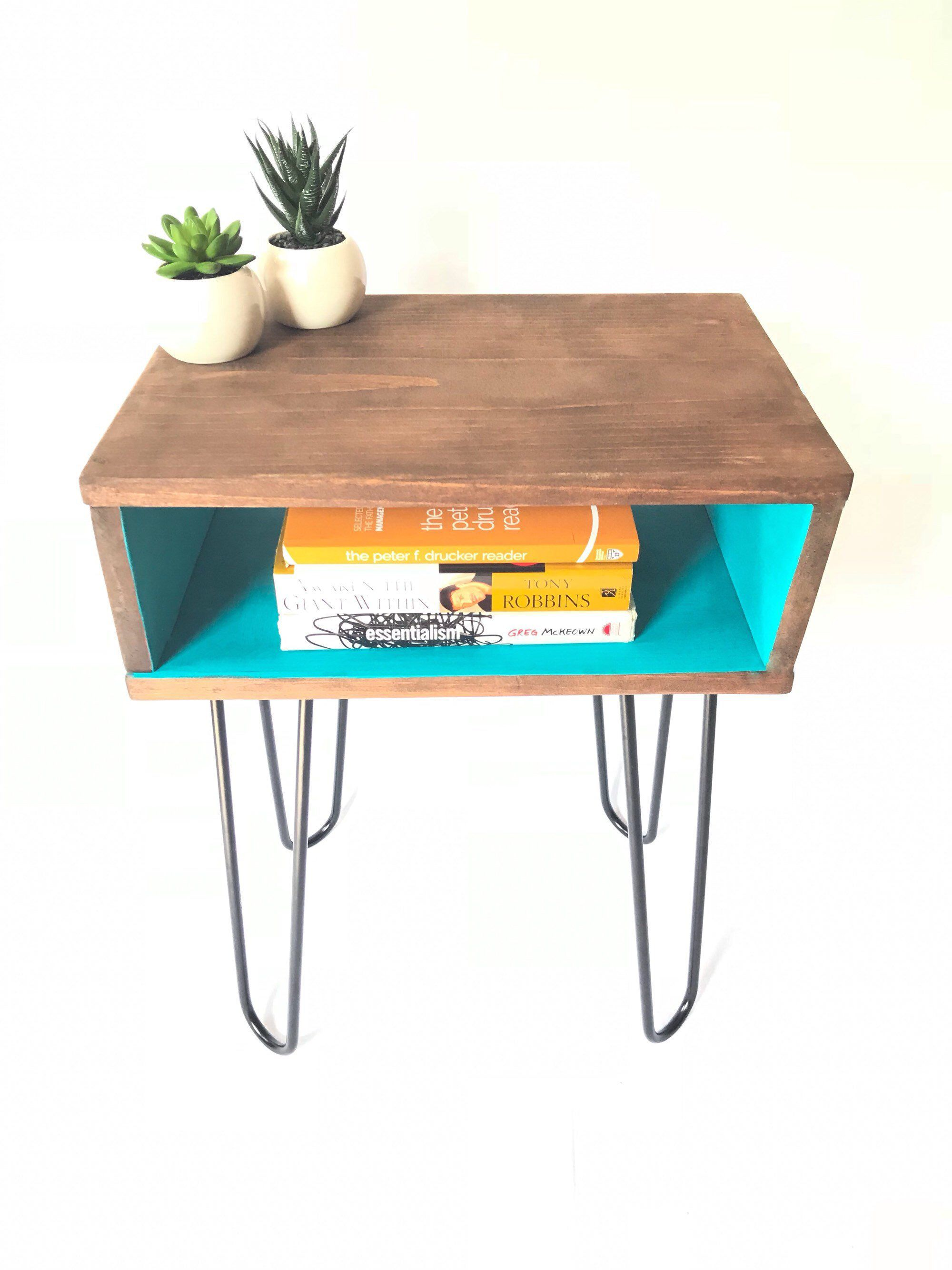 Industrial Hairpin Nightstand Bed Side Table Mid Century Modern