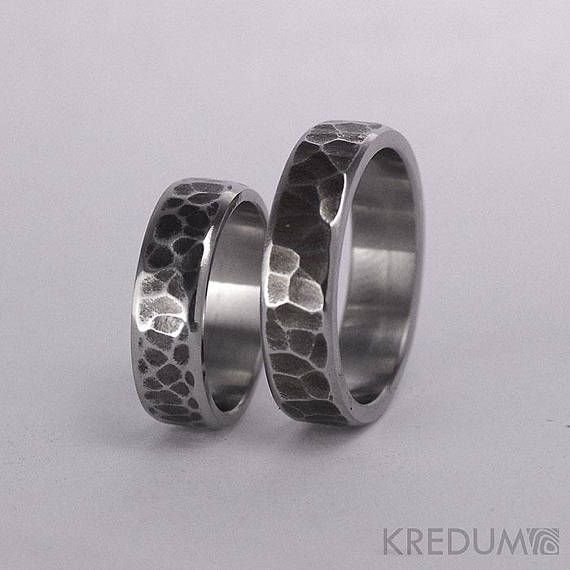 Hammered Wedding Band Stainless Steel Womens And Mens Handmade Wedding Ring Simple Unique Ring For Him For Her Draill Line Dark Hammered Wedding Bands Handmade Wedding Rings Wedding Rings Simple