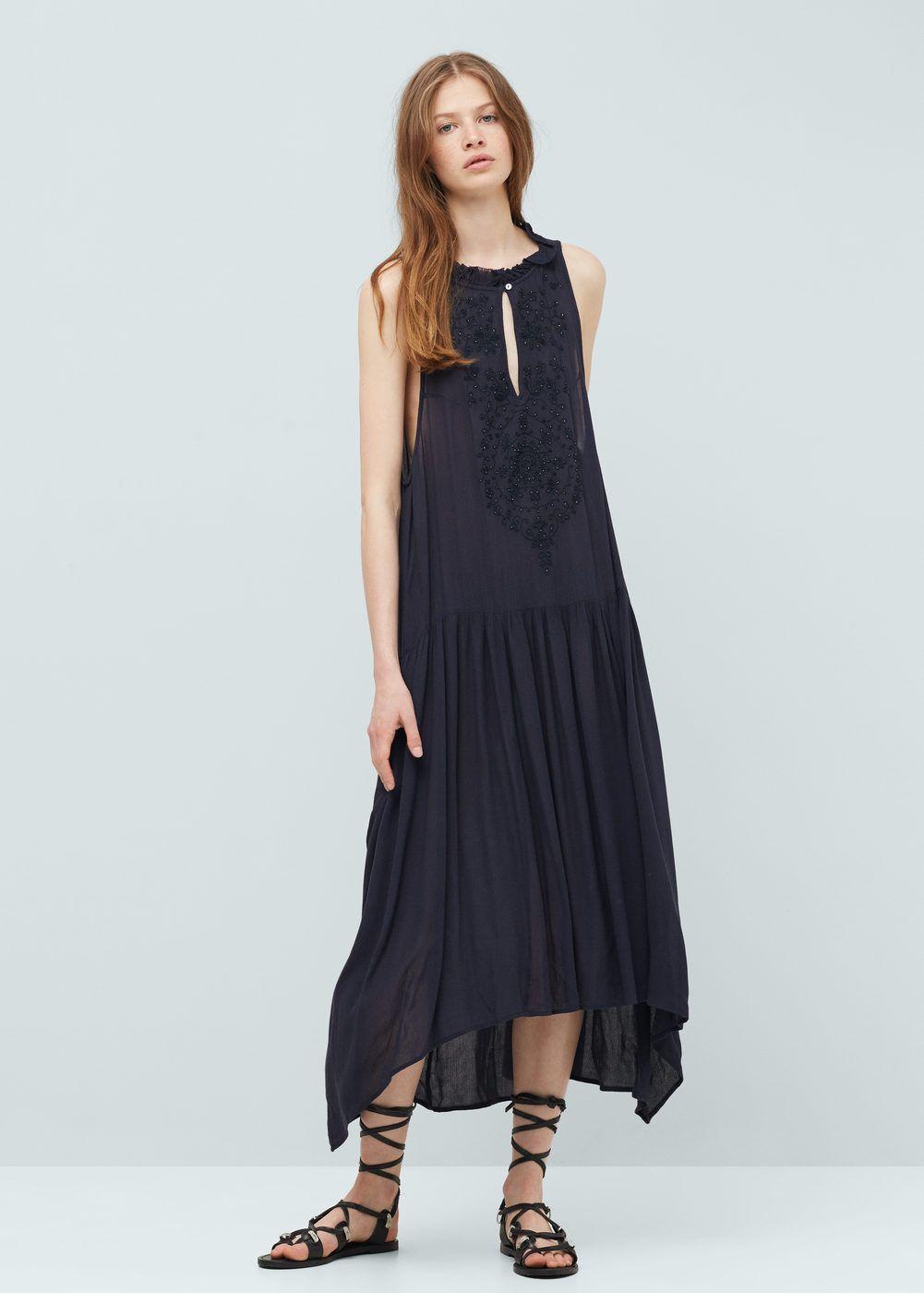 Embroidered long dress woman alberta ferretti shopping lists