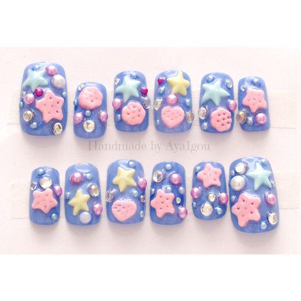 Deco nails, 3D nail, kawaii nail, blue nail, Harajuku, lolita fashion,... ($19) ❤ liked on Polyvore featuring beauty products, nail care, nail treatments, nails, accessories, makeup, false nails and kawaii