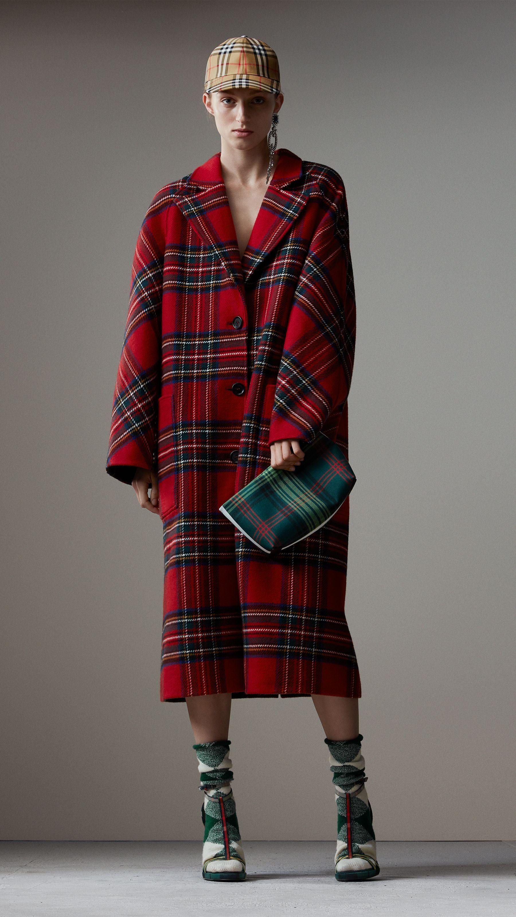 9c931ee8cb4570 Manteau oversize en laine et cachemire tartan double face (Rouge Vif gris  Sombre) - Femme   Burberry