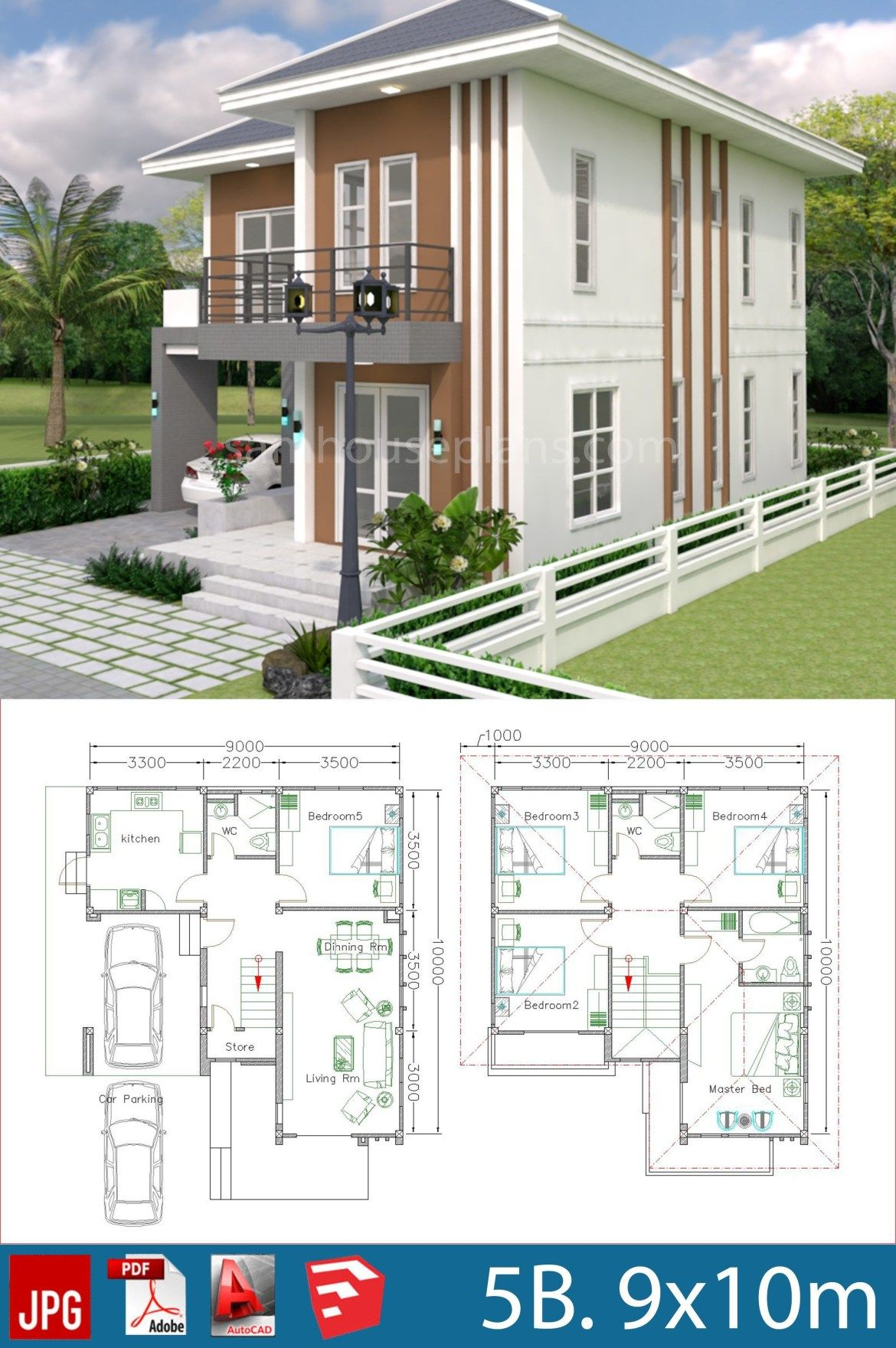 House Plans Design 9x10m With 5 Bedrooms Samphoas Plansearch Building Design Plan Home Design Plans House Architecture Design