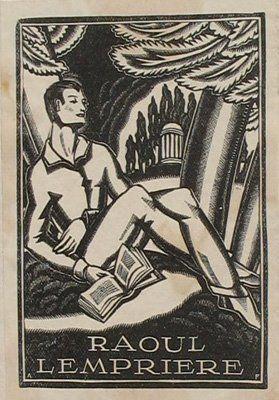 Adrian Feint bookplate for Raoul Lempiere