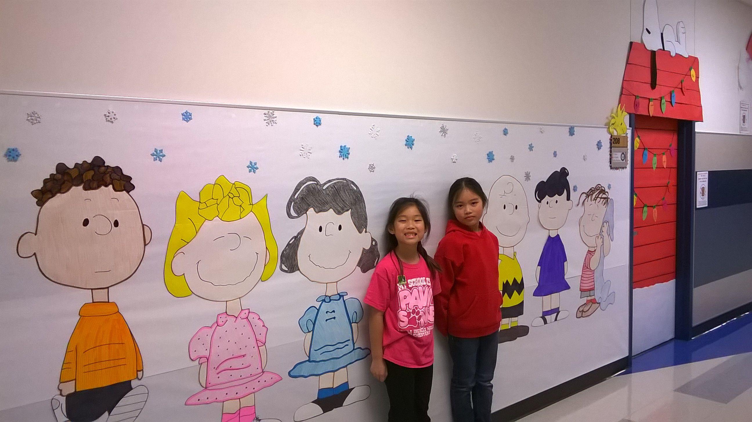 Charlie Brown Christmas hallway classroom door decoration