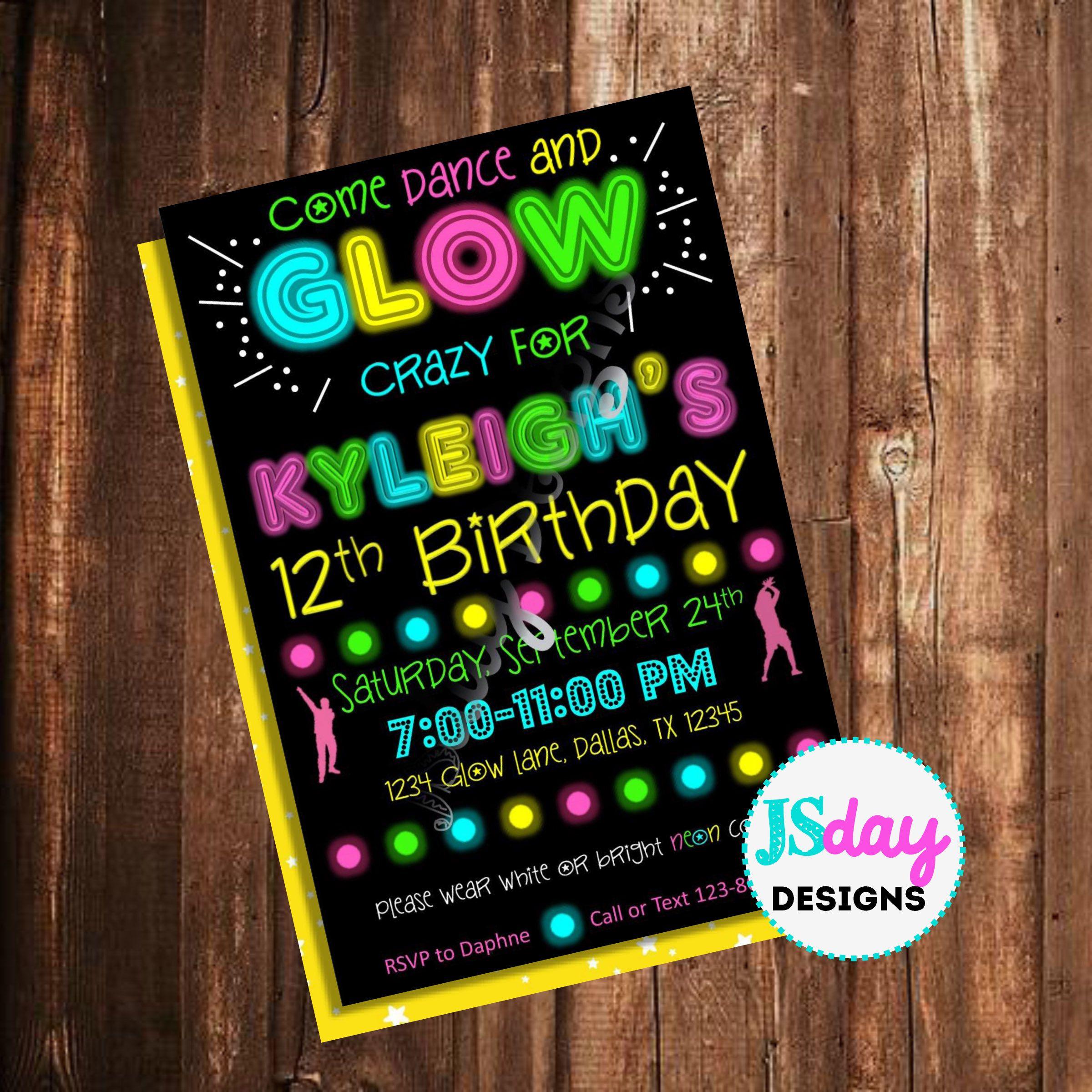 Glow party invite; glow in the dark birthday; dance invitation ...