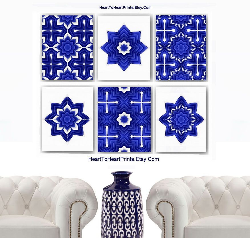 Moroccan Wall Art Moroccan Wall Decor Abstract Geometric Navy Cobalt Blue White Art Prints
