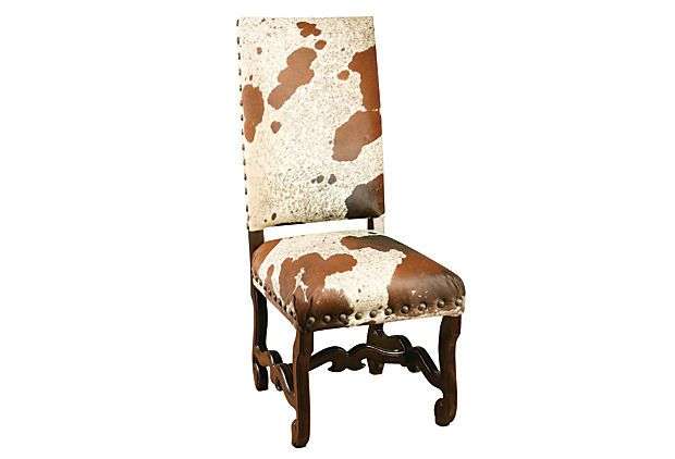 Caryn Cow Hide Side Chair 20 Quot W X 27 Quot D X 46 Quot H Seat Height
