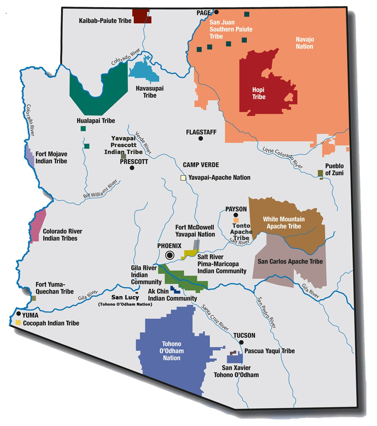 Majestic Indian Reservations In Arizona Map