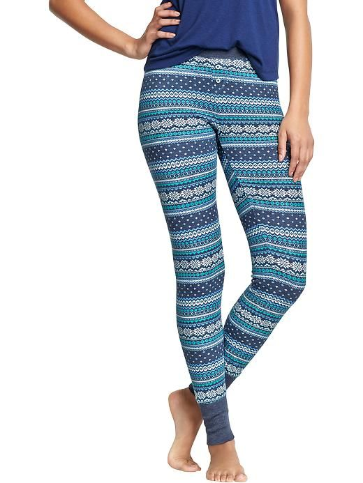 Women's Patterned Waffle-Knit PJ Leggings Old Navy | Christmas ...