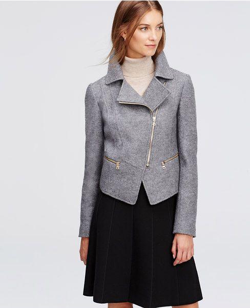 Petite Boiled Wool Moto Jacket | Ann Taylor | StitchFix | Pinterest