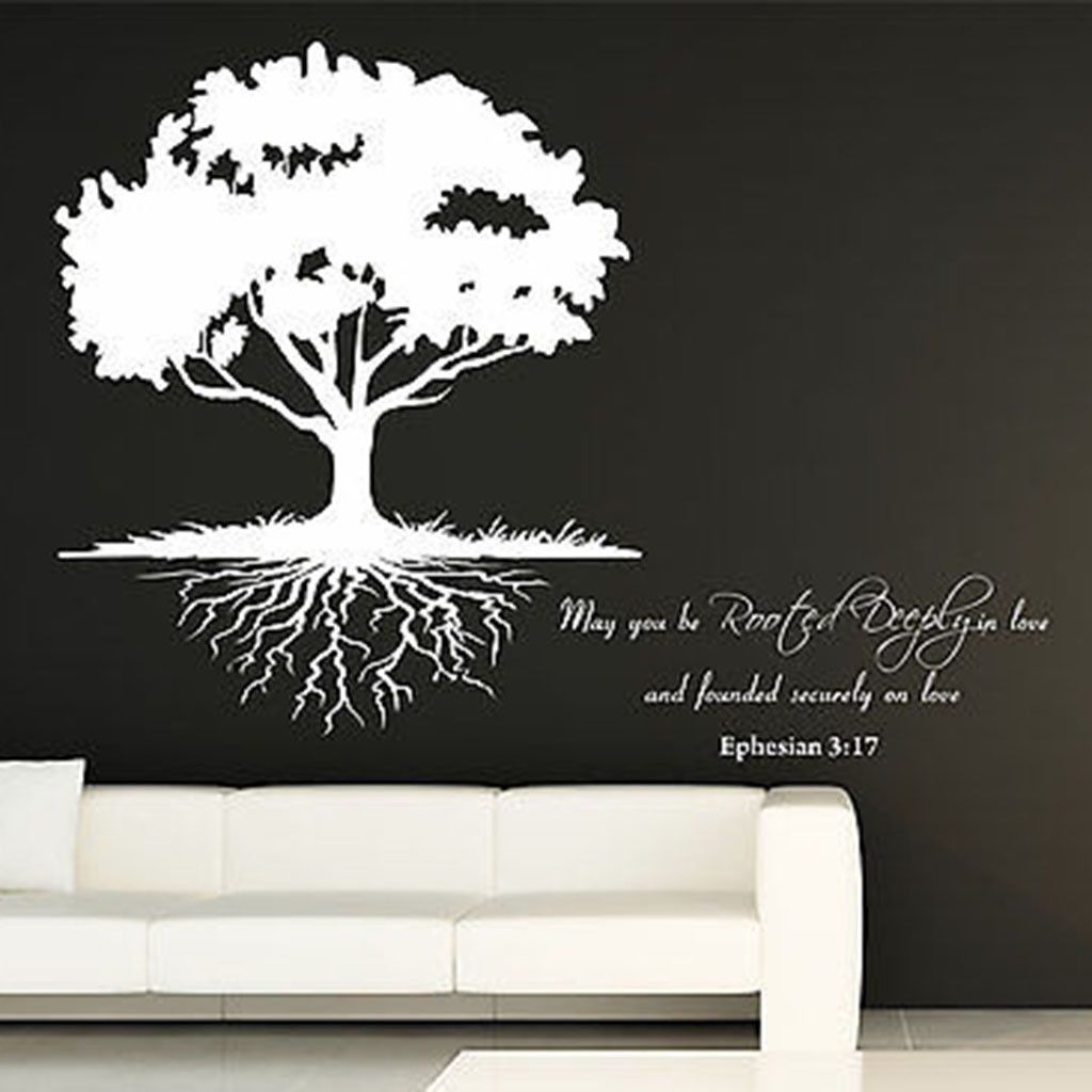 May You Be Rooted Deeply Quote And Roots Tree Vinyl Wall
