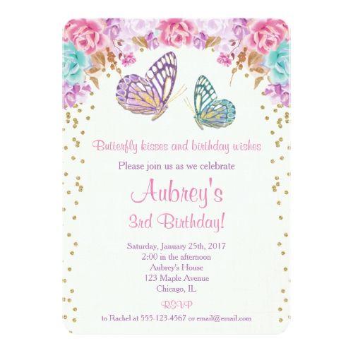Butterfly birthday invitation pink purple gold card stopboris Images