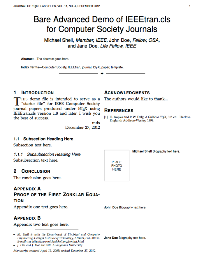 Resume Templates Latex Ieee Transactions Journals Latex Templates  Engineering