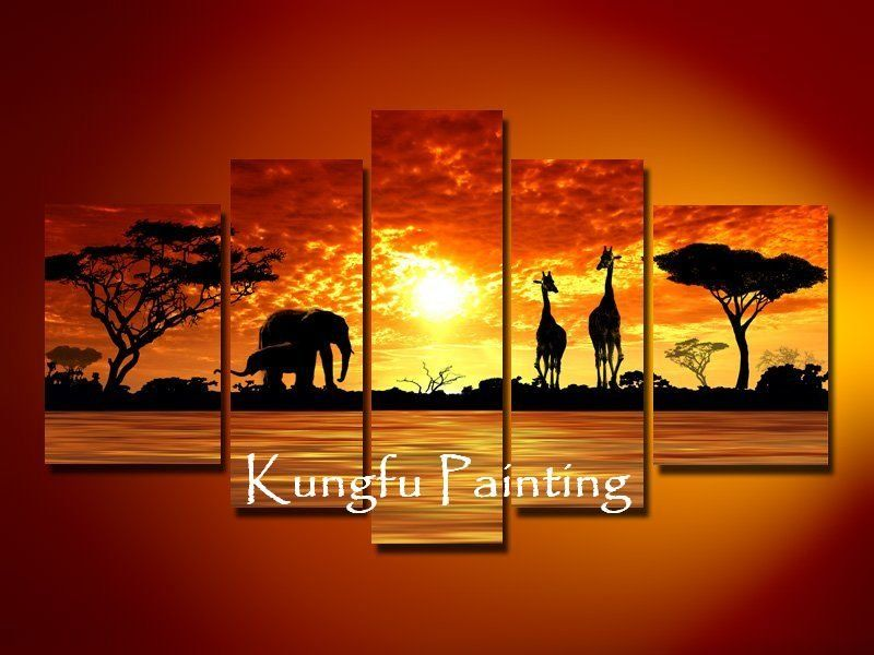 100% handmade discount abstract african canvas art landscape oil ...