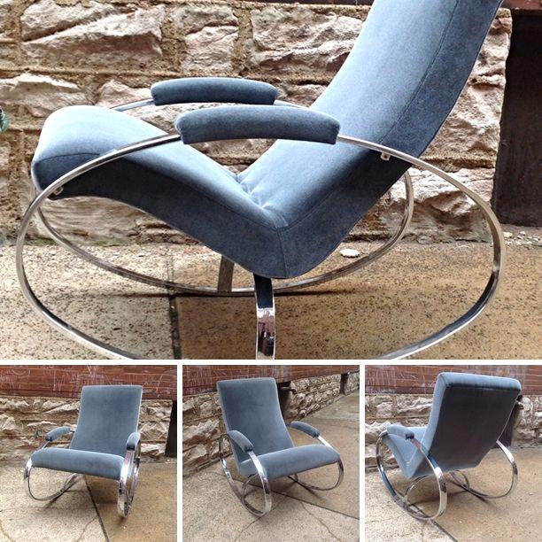 #Vintage #MiloBaughman Style Chrome #RockingChair -Info @Link Below.   Rocket Century  - St. Louis, MO