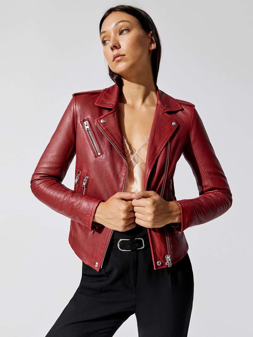 Han In Cranberry By Iro From Carbon38 Leather Jacket Long Leggings Red Leather Jacket [ 1400 x 1050 Pixel ]
