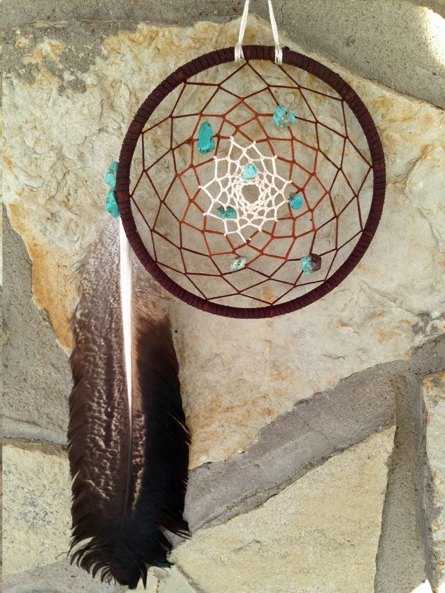 Color art dreamcatcher - Tri Color Handmade Dream Catcher Turoquiose Beads Hawk Feather Hippie Bohemian Dreamcatcher