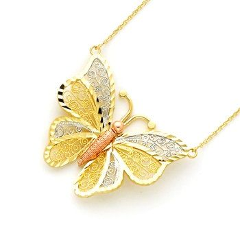 14 Karat Solid Gold Tricolor Filigree Butterfly 18 Necklace Measures Approximately 1 1 4 X 1 1 2 Collana Con Farfalla Ciondoli Pendente