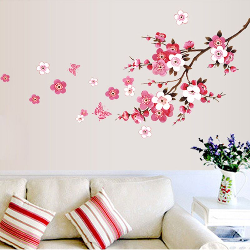 goedkope 46*65 cm mooie sakura muurstickers woonkamer slaapkamer, Deco ideeën