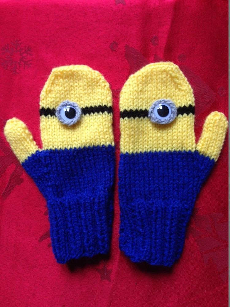 Minions Mittens Knitting Pattern Birthday Present Gift For A