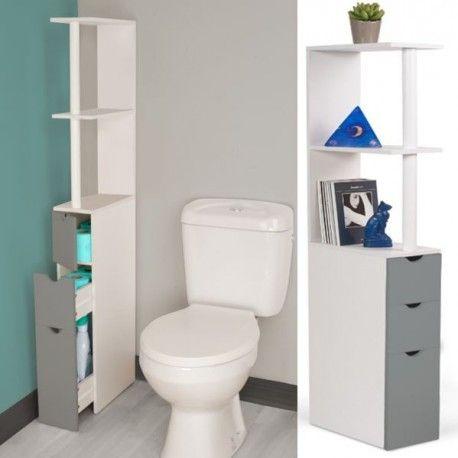Meuble Wc Etagere Bois 3 Portes Gris Gain De Place Pour Toilettes Meuble Wc Meuble Rangement Wc Meuble Rangement