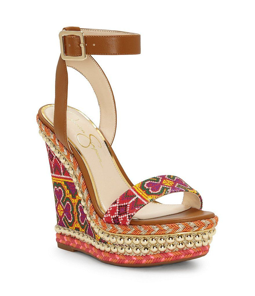 ac226df5b34 Jessica Simpson Alinda Print Braided Detail Ankle Strap Wedge Sandals