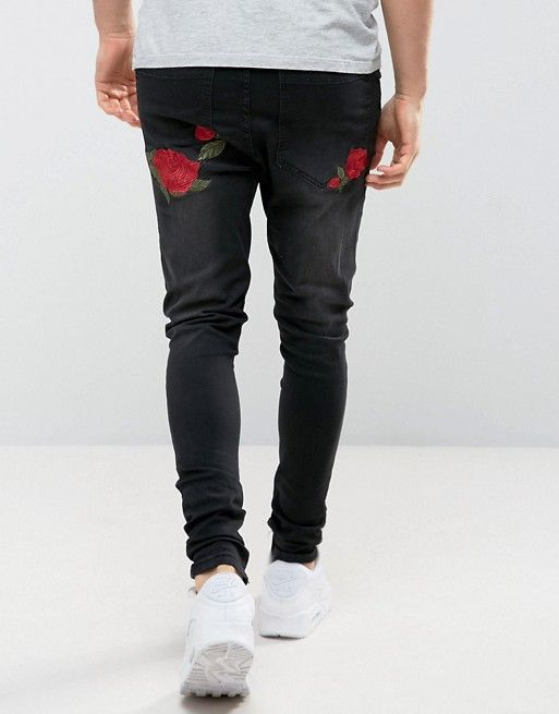 872b274867831 SikSilk Super Skinny Fit Jeans With Rose Embroidery | Outfit grids ...
