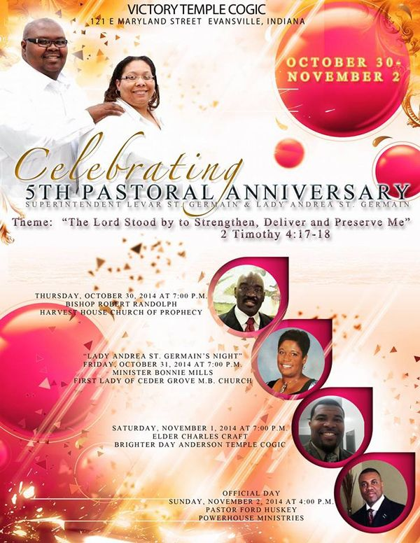 Victory Temple COGIC 5th Pastoral Anniversary of Superintendent