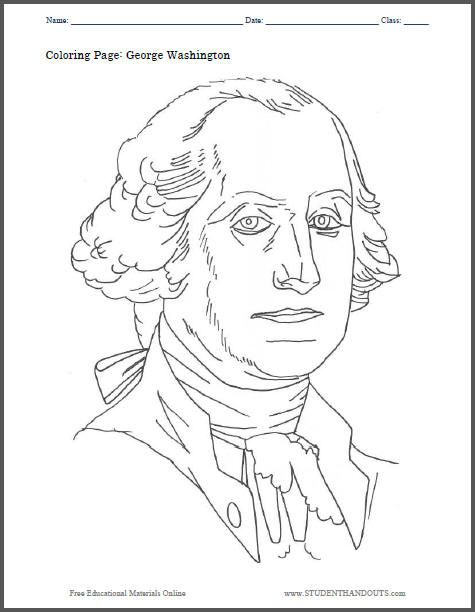 George Washington Coloring Sheet Free To Print Pdf File Cc