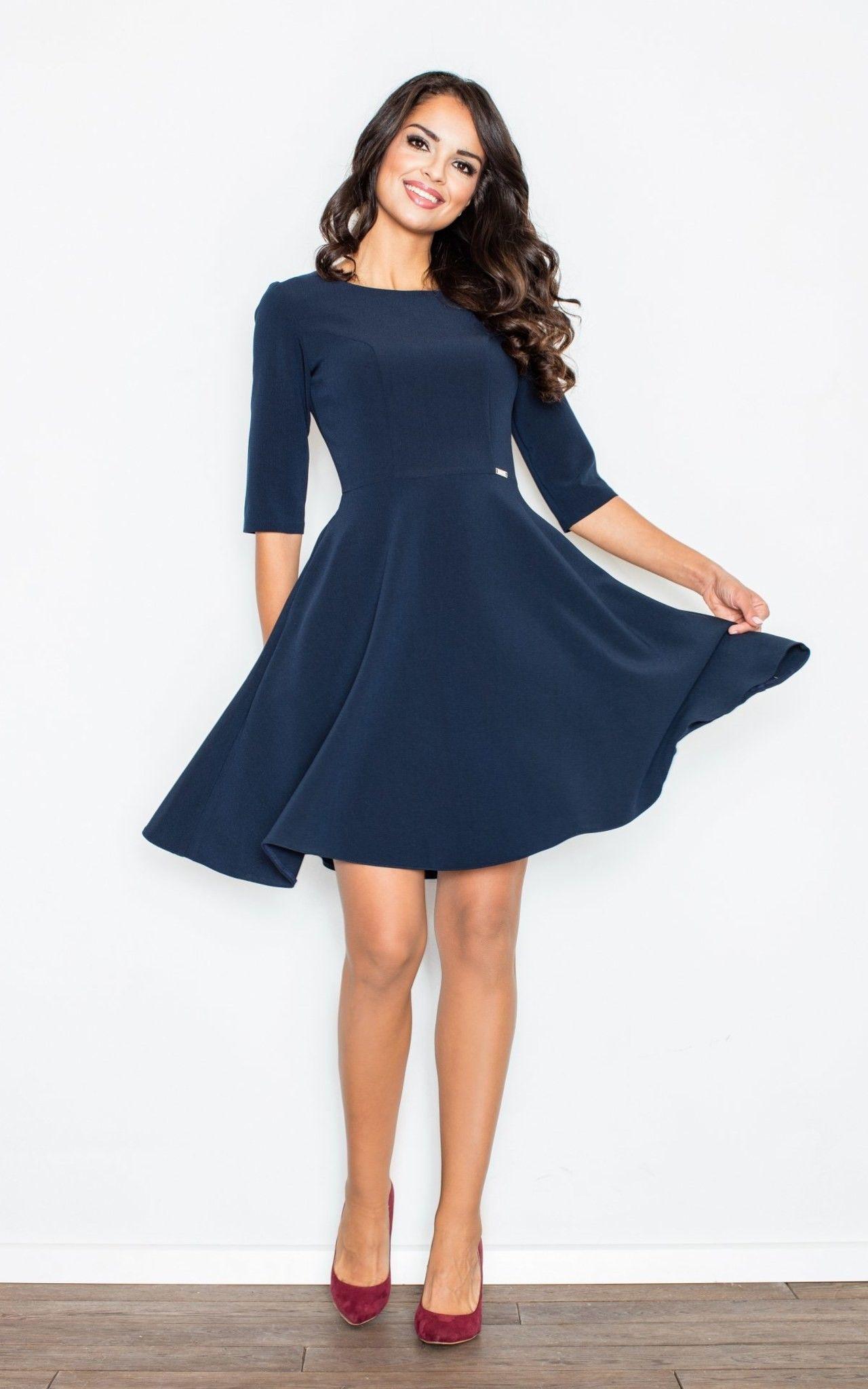 03021d616029 Navy Blue Flared Dress