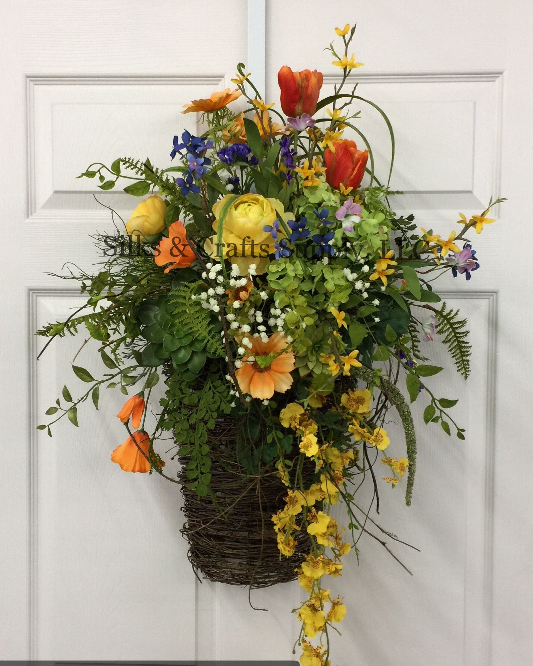 Grapevine Wall Basket With Beautiful Spring Mixture Spring 2017