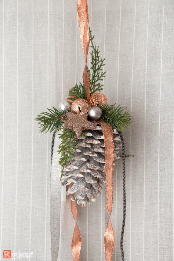 Pine cone for hanging copper grey Christmas decoration Türschmuck window jewelry