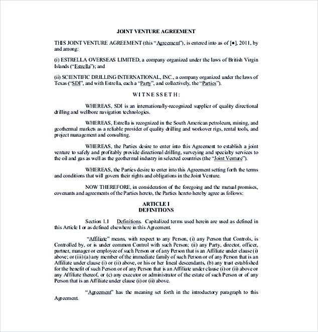 Printable Joint Venture Agreement Template Unincorporated Sample For