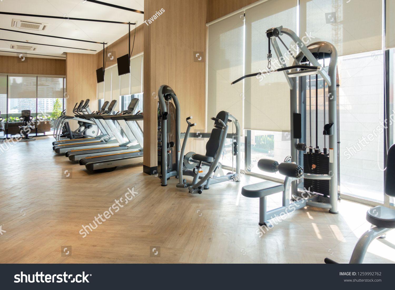 Modern Fitness Center With Gym Equipment Decoration Interior Design Background Ad Spon Center Gym Modern Fitne Gym Equipment Gym Flooring Fitness Center