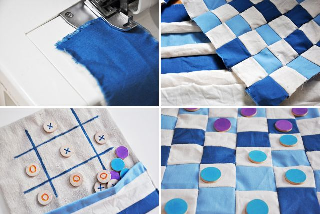 Sewing a checker/tic tac toe board