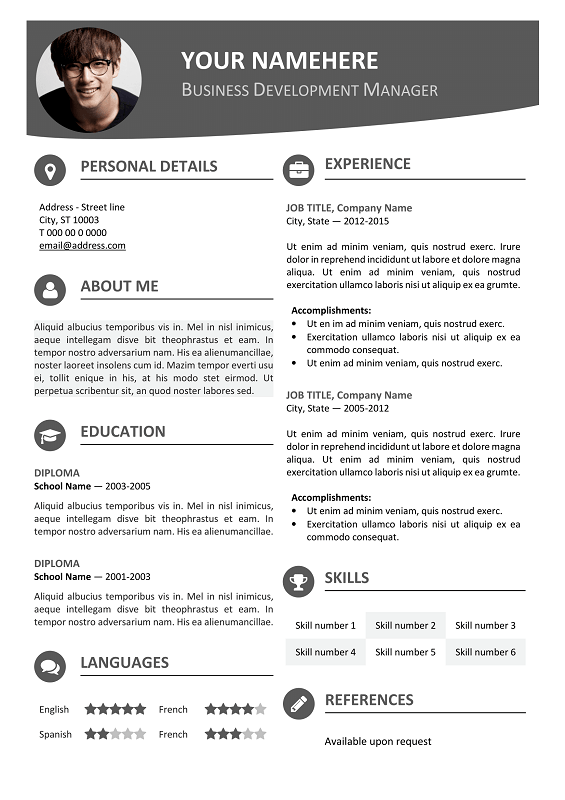 Contemporary Resume Templates Hongdae Free Modern Resume Template Gray  Classic Resume