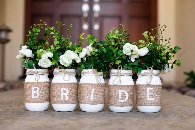 Bridal Shower Mason Jar Centerpieces Bridal Shower Decorations Rustic Mason Jar Centerpiece Bridal Shower, BRIDE Mason Jars