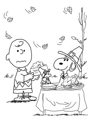 Click Charlie Brown Thanksgiving Coloring Page For Printable