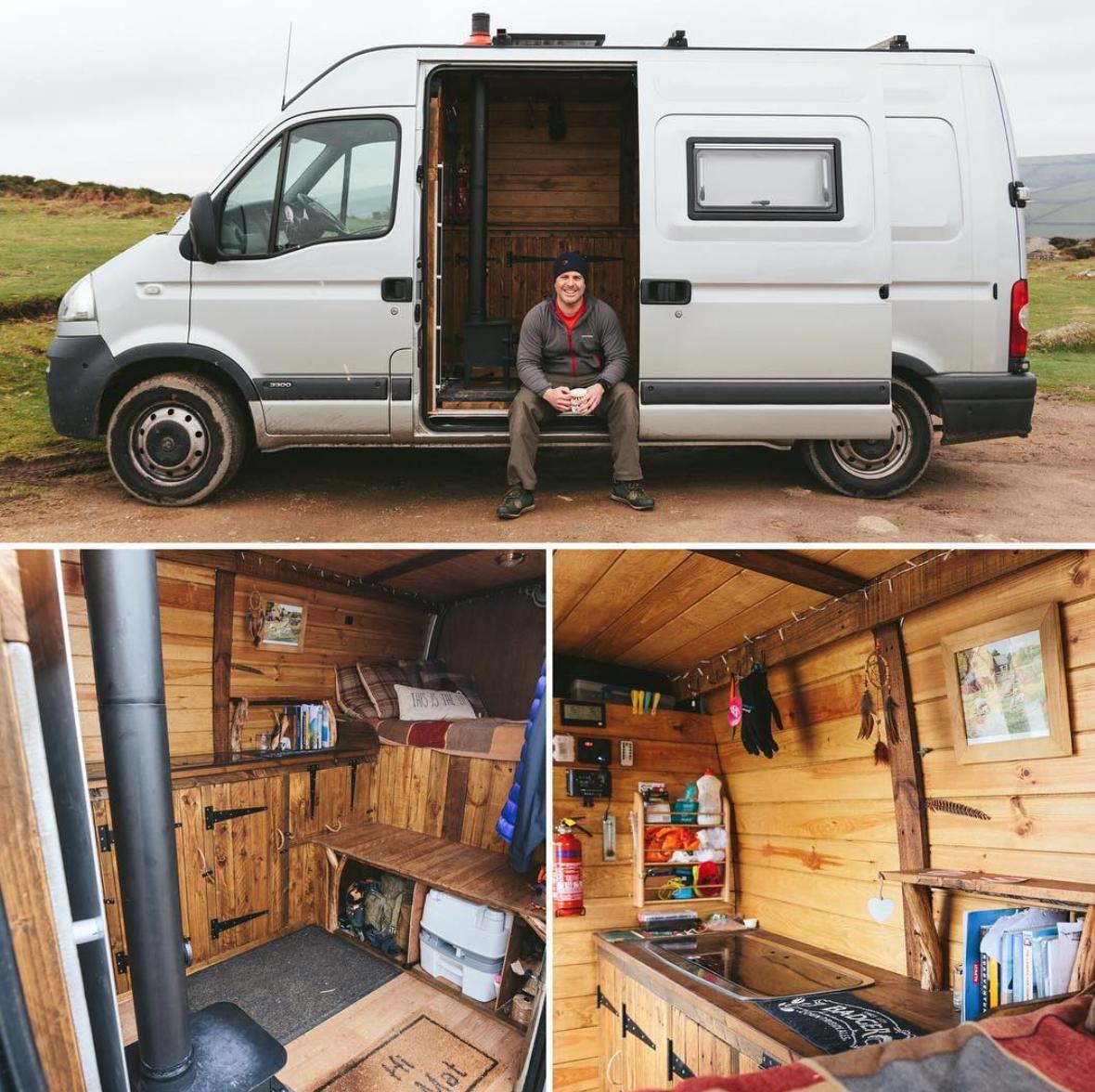 Climber Converts Vauxhall Movano Into Rustic Adventure Van Van Life Homemade Camper Camper Conversion