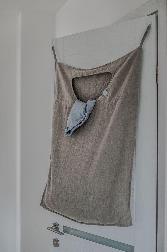 natural hanging linen laundry bag w schesack leinen und n hen. Black Bedroom Furniture Sets. Home Design Ideas